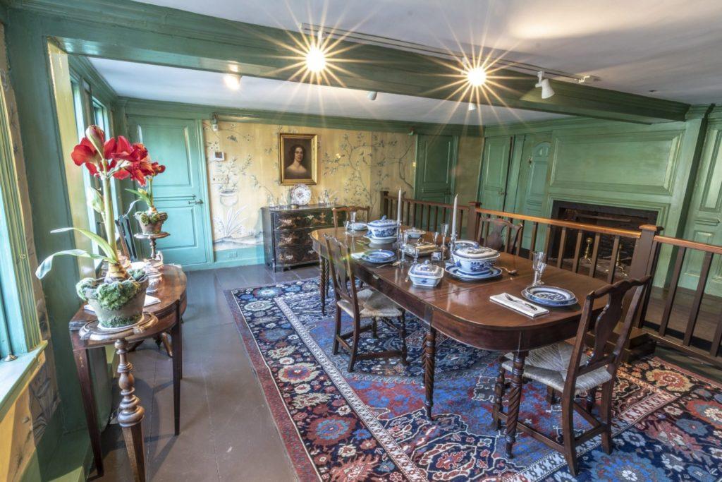 An interior dining room inside the House of Seven Gables in Salem, Massachusetts