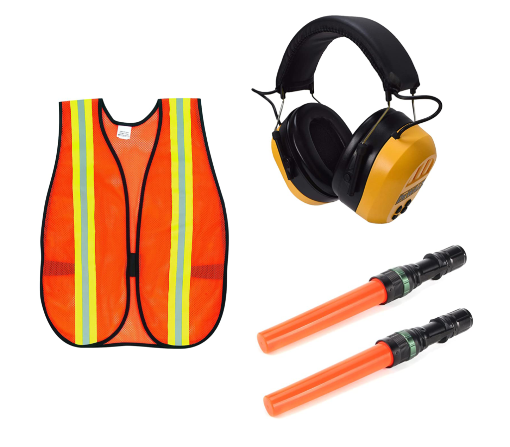 Orange safety vest, noise cancelling headphones, and light-up wands