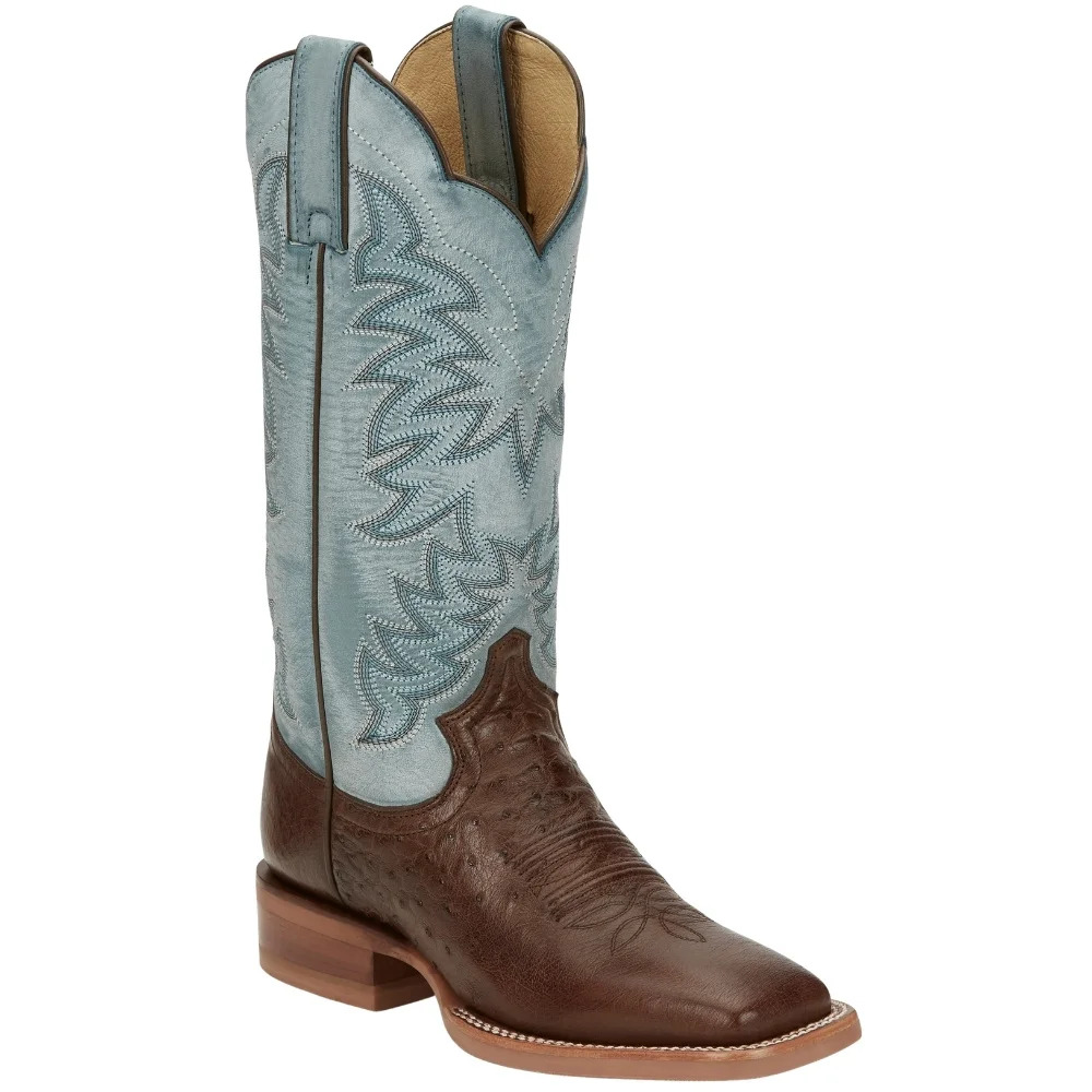 Justin Ralston Smooth Ostrich Square Toe Cowboy Boots