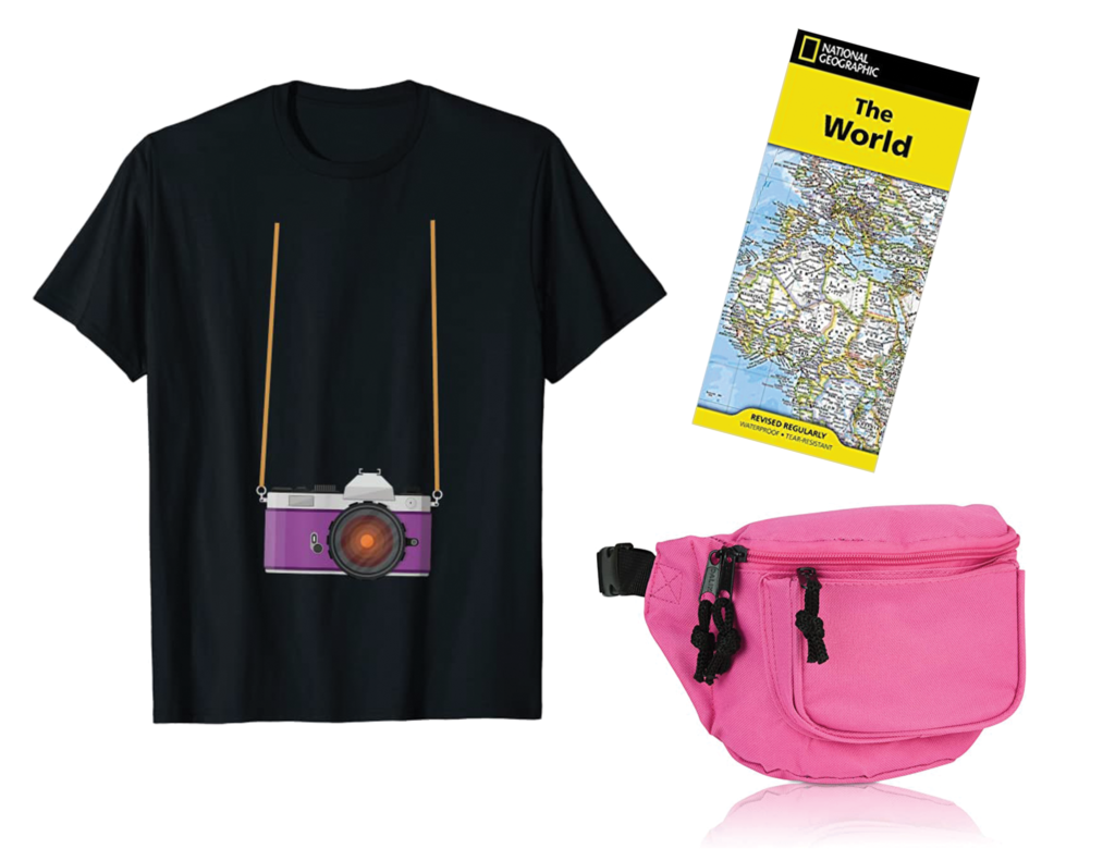 Novelty t-shirt, map of the world, and pink fanny pack put together to create a tourist Halloween costume