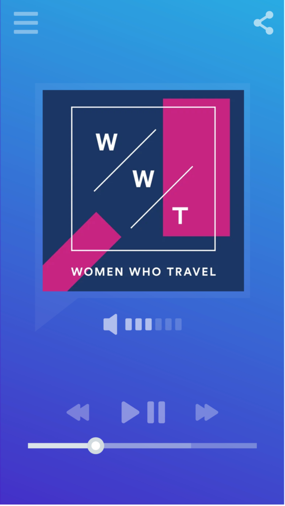 Smartphone music/podcast player displaying logo for the Women Who Travel podcast