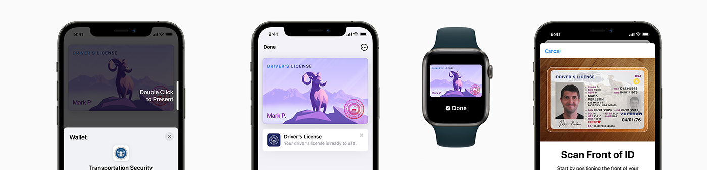 Three phones showing Apple Wallet's new digital license functionality