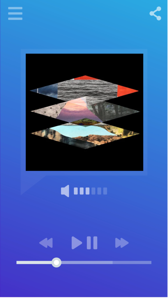 Smartphone music/podcast player displaying logo for the Field Recordings podcast