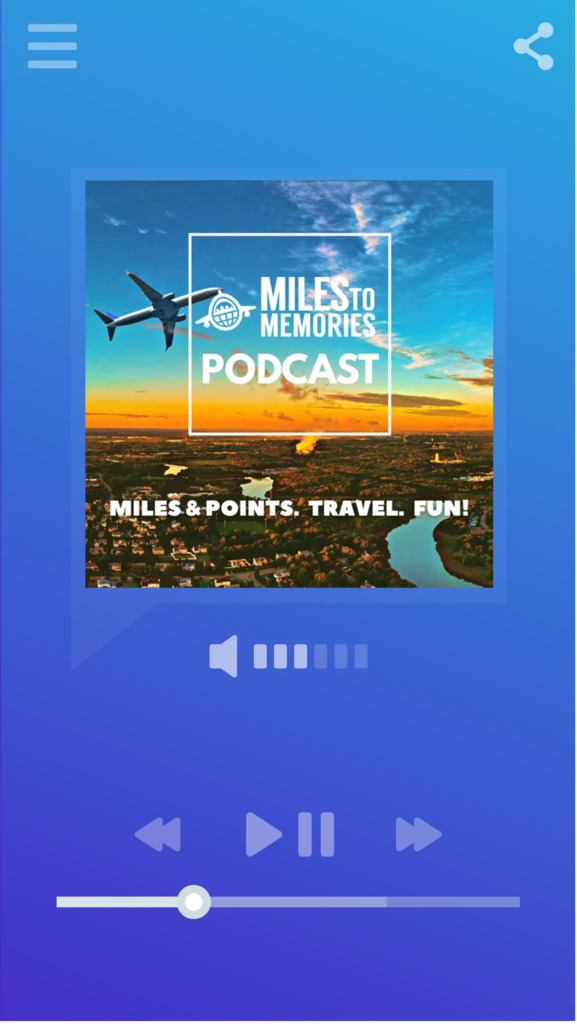 Smartphone music/podcast player displaying logo for the Miles to Memories podcast