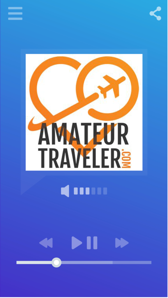 Smartphone music/podcast player displaying logo for the Amateur Traveler podcast