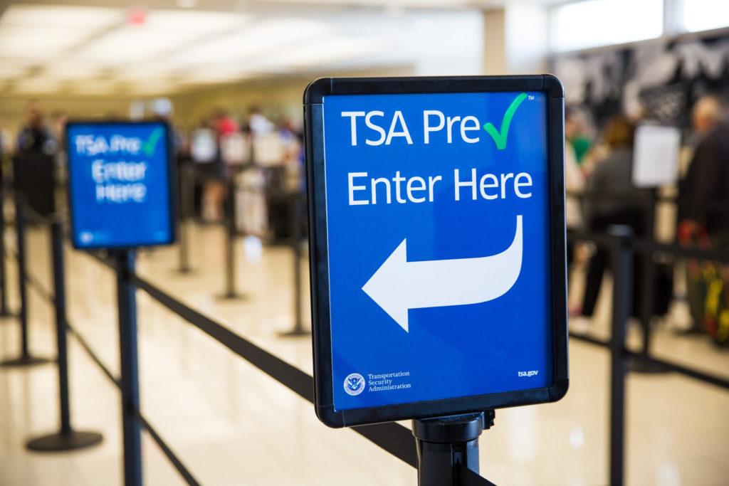 TSA PreCheck sign at airport