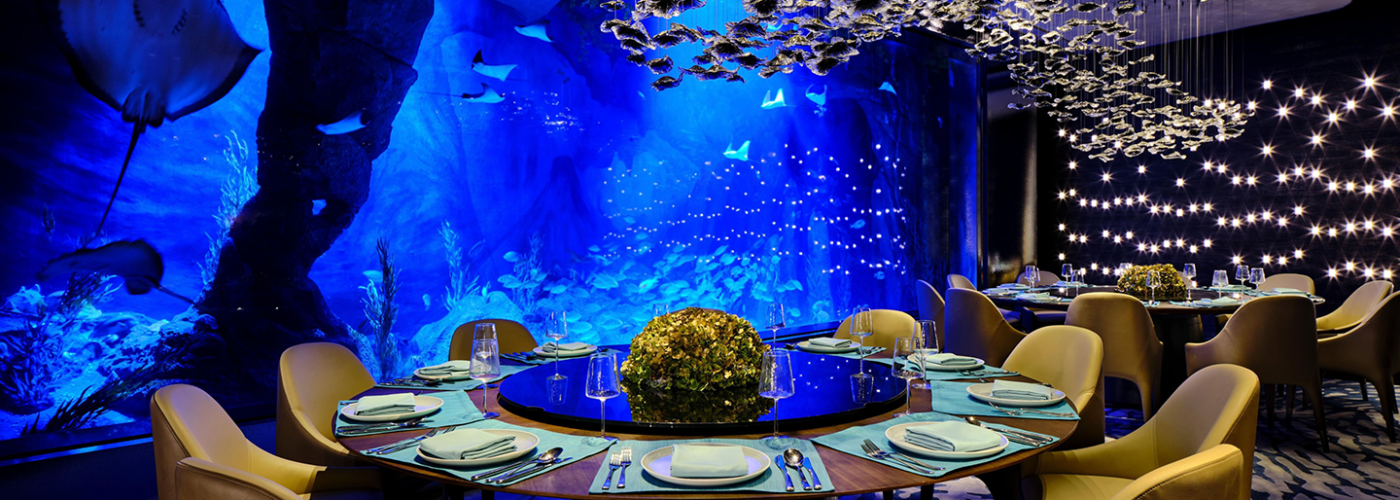 Underwater dining room at the InterContinental Hotels & Resorts