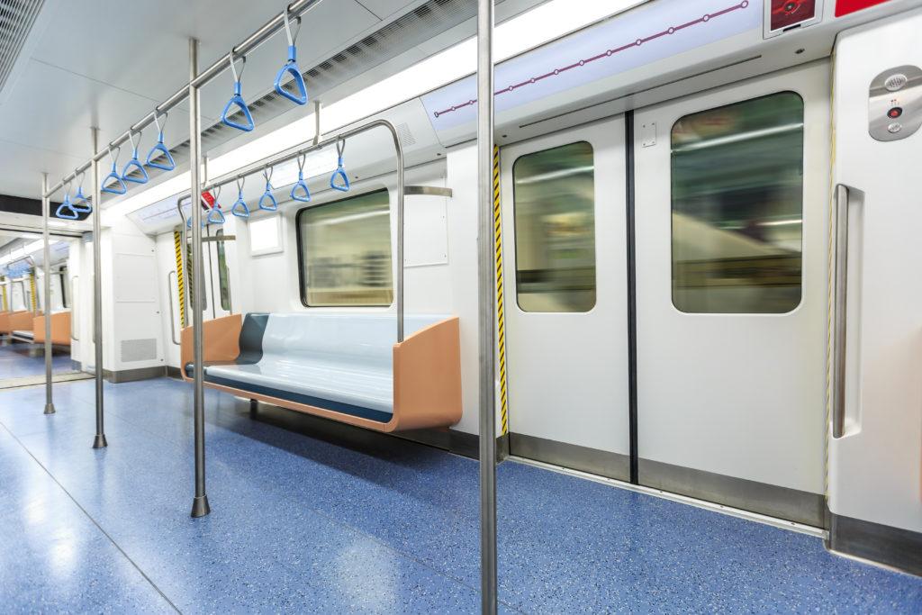 Interior of subway car in Shanghai, China