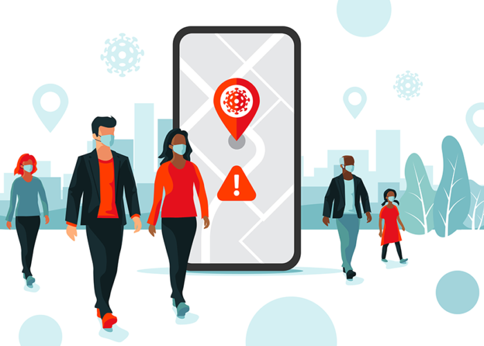 Animated image of pedestrians wearing face masks around a large smartphone showing COVID-19 transmission data