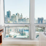 Luxury bathroom with view at The Langham hotel